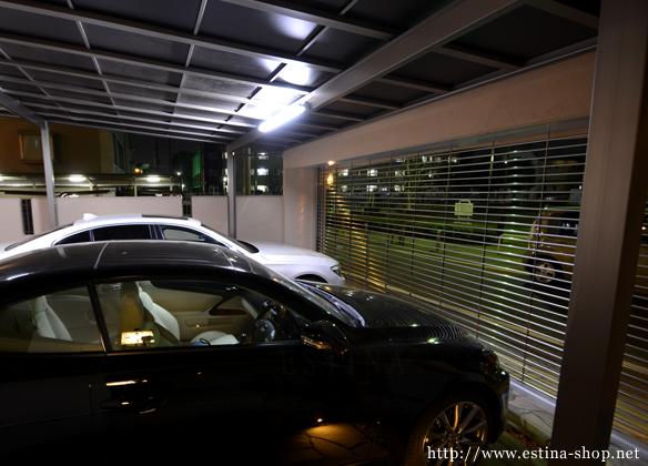 ガレージに照明を設置し、夜でも使いやすく