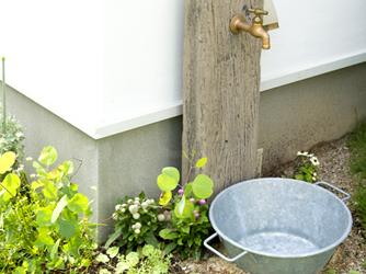 ブリキのバケツの水受けがお庭のアクセント