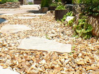 雑草を抑えるための、全体の色に合わせた砂利敷き