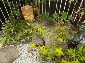 坪庭の空間は印象を変え、和の雰囲気を