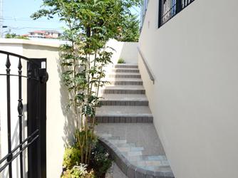蹴上を低く、踏面を広くとった登りやすい階段