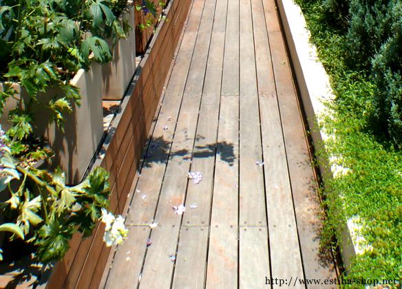 ウッドデッキの道は、植物とも好相性