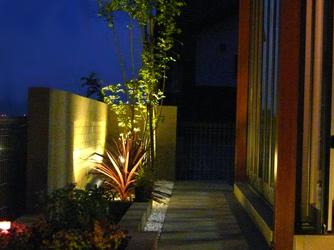 スポットライトで、植栽や壁を印象的に