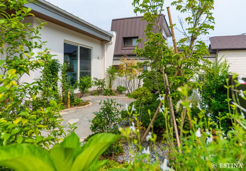母屋は和テイストの植物と素材でまとめた和モダンのお庭。